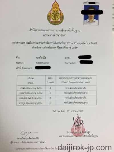 タイ語能力試験結果(表)